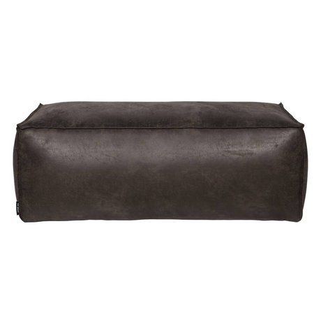BePureHome Rodeo schwarzem Leder Puff 120x60x43cm