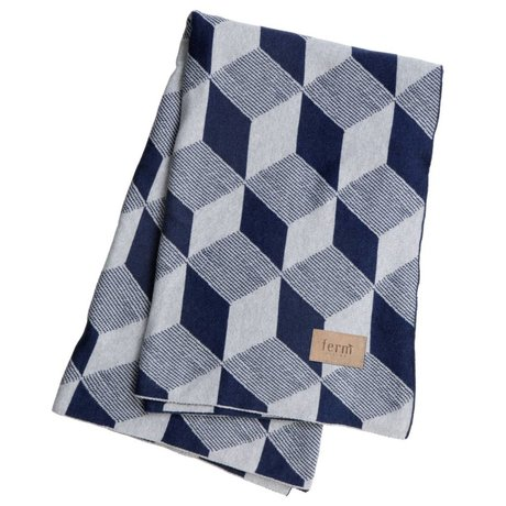 Ferm Living Square blue cotton plaid blanket 120x150cm