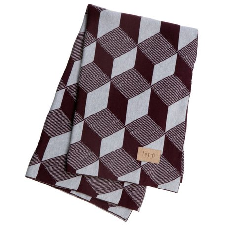 Ferm Living Square plaid blanket burgundy cotton 120x150cm