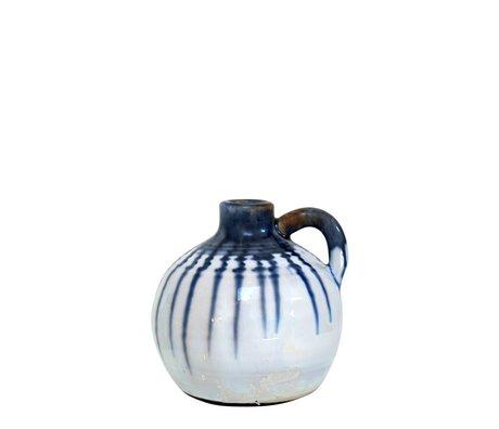 HK-living Potje keramiek met blauwe druppels large 13x13x13cm