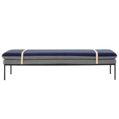 Ferm Living Bench daybed Turn gray, blue wool 190x80x42cm