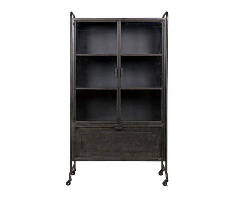 BePureHome Vitrine Stahlspeicher schwarz Metall 105x40,2x183,5cm