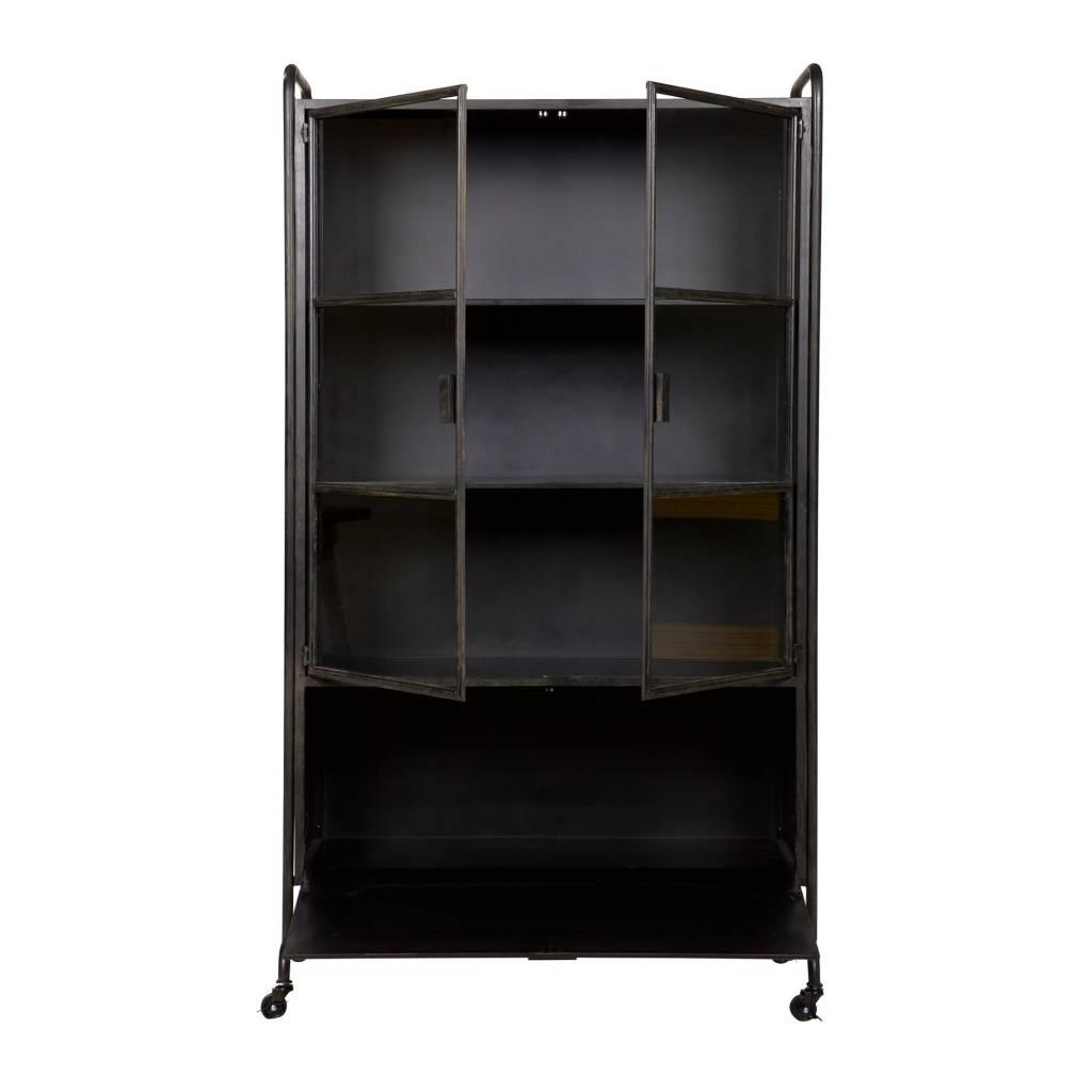 Bepurehome vitrinekast steel storage zwart metaal 105x40 2x183 5cm - Meubilair storage zwart ...