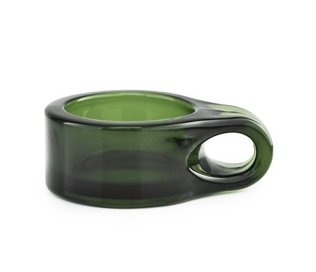Normann Copenhagen Waxinelichthouder Floe dark green glass 9x7x3cm