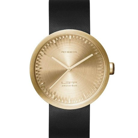 LEFF amsterdam Watch Tube D42 brushed stainless steel brass gold watch with black leather strap waterproof Ø42x10,6mm