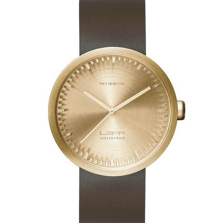 LEFF amsterdam Watch Tube D42 brushed stainless steel brass gold watch with brown leather strap waterproof Ø42x10,6mm