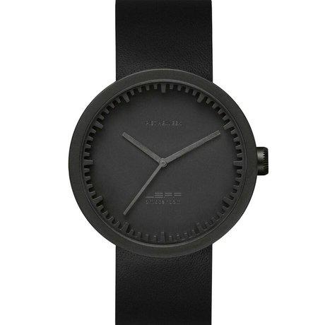 LEFF amsterdam Montre Tube D42 brossé mat acier inoxydable noir avec bracelet en cuir noir Ø42x10,6mm étanche