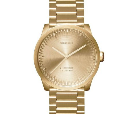 LEFF amsterdam Watch watch Tube S42 brushed stainless steel brass gold with solid stainless steel band waterproof Ø42x11,4mm