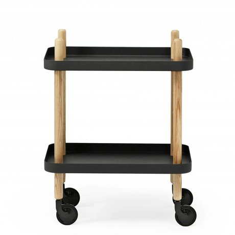 Normann Copenhagen Side Table Block black steel timber 35x64x50cm