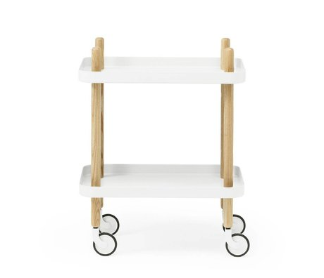 Normann Copenhagen Side Table Block white steel timber 35x64x50cm