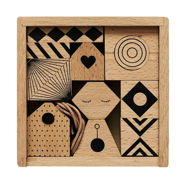 houten slinger puzzle me bruin zwart hout 14x14cm oyoy houten slinger ...
