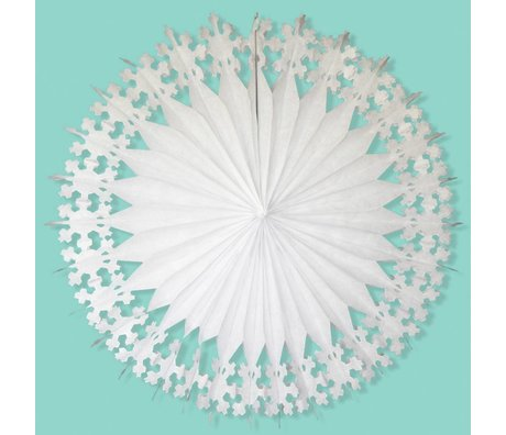 A Little Lovely Company Deco Fan ster wit papier Ø76cm