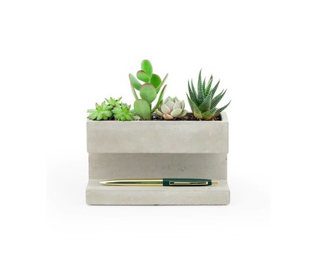 LEF collections Plant and penholder large gray and white concrete 16,3x8x9cm