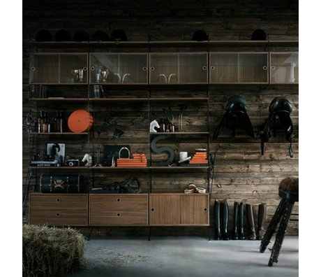 String Cabinet System black oak metal 275x400x30cm
