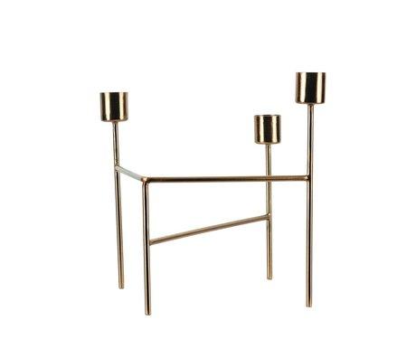 Housedoctor Candlestick 'Drei' Messing Gold Eisen 18.5x15x13.5cm