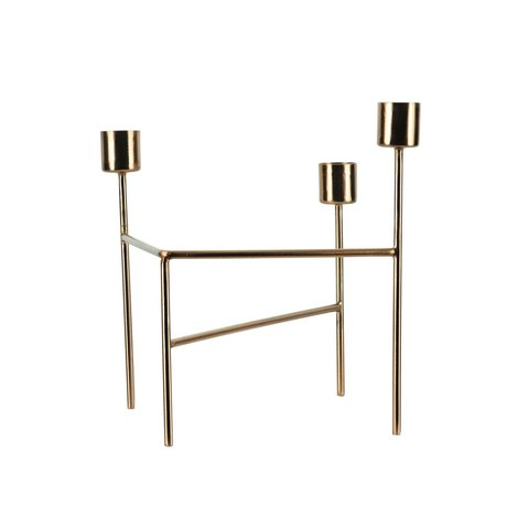Housedoctor Candlestick 'Three' brass gold iron 18.5x15x13.5cm