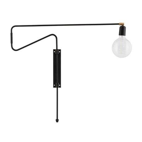 Housedoctor Wandlamp Swing zwart brass metaal 70cm