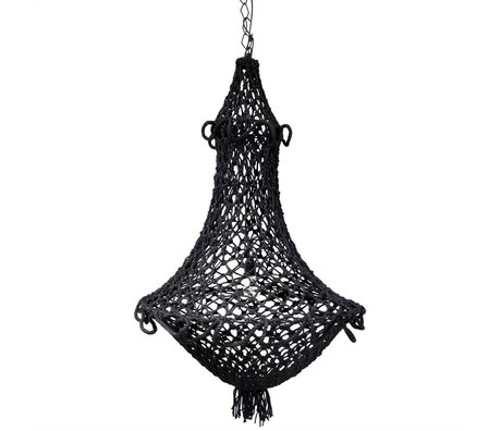 HK-living Hanglamp hand-knotted chandelier black rope 75x75x110cm