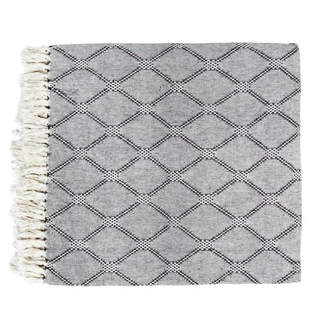 HK-living Bedspread black and white woven cotton 240x260cm