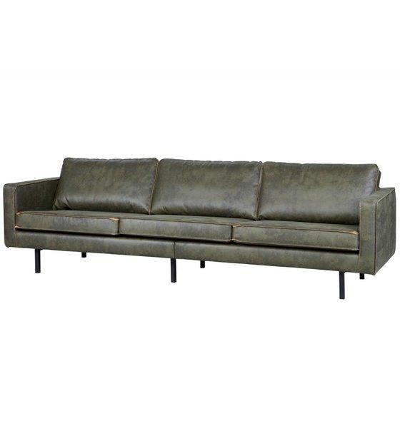 bepurehome bank rodeo 3 zits leger groen leer 85x277x86cm. Black Bedroom Furniture Sets. Home Design Ideas