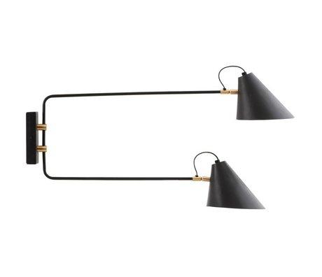 Housedoctor Wandlamp club zwart ijzer Ø18-20x28x33-55cm