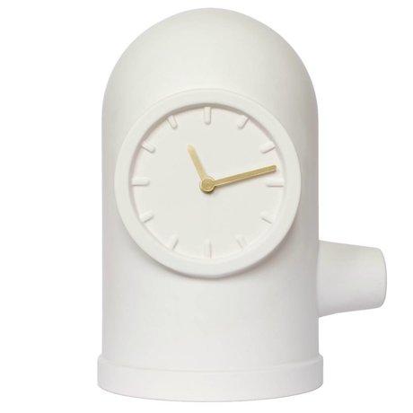 LEFF amsterdam horloge de base blanc mat or en céramique en laiton 20x26x33cm