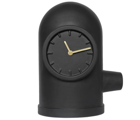 LEFF amsterdam Base clock matte black ceramic gold brass 20x26x33cm