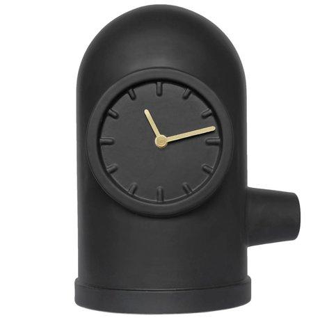 LEFF amsterdam horloge de base matte d'or en céramique noire laiton 20x26x33cm