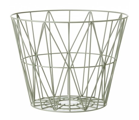 Ferm Living Mand dusty groen ijzer 3 maten 40x35cm,50x40cm,60x45cm wire basket