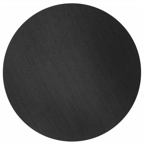 Ferm Living Sheet metal basket Ø60cm black oak veneer