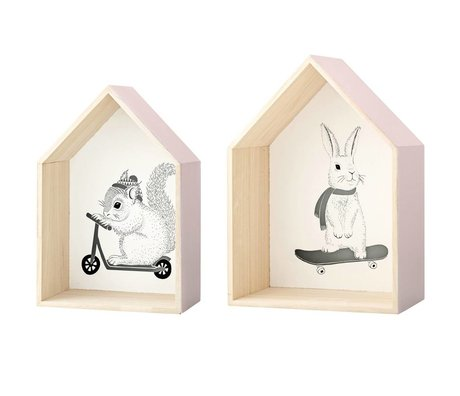 Bloomingville Displaying cottages set of two 2 houses wood 25x15x37 / 30x17x42cm