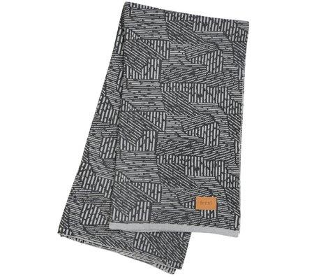 Ferm Living Maze Decke kariert grau Baumwolle 120x150cm