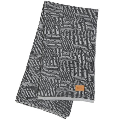 Ferm Living Maze blanket plaid gray cotton 120x150cm