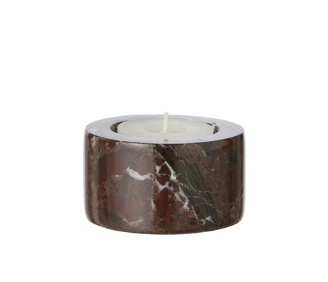 Ferm Living Waxinelichthouder Marble rood ø6x3,5cm