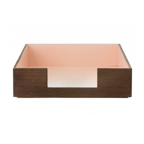 Ferm Living Mail bin brown / pink plywood 24x33cm, Letter tray rose