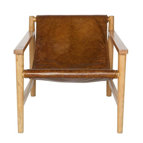 BePureHome Armchair Sling natural brown leather wood 70x71x94cm