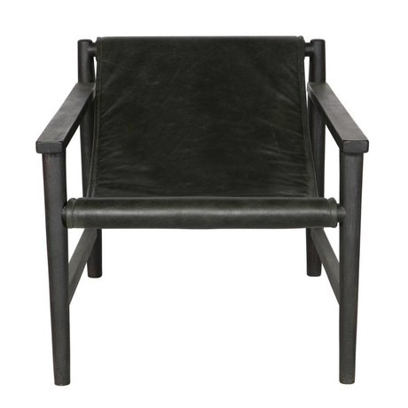 BePureHome Sling Armchair black leather wood 70x71x94cm
