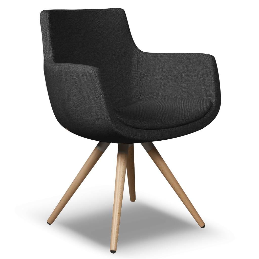 I sofa eetkamerstoel espen zwart textiel 59x59x83cm for Eetkamerstoelen blauw leer