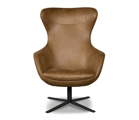 I-Sofa Armchair Elvi cognac brown leather 84x78x110cm