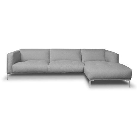 I-Sofa Hoekbank Oliver grijs textiel 296x85x74cm