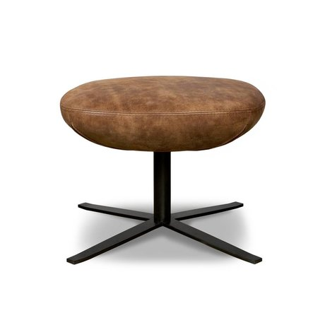 I-Sofa Stool footstool Elvi cognac brown leather 47x58x41cm
