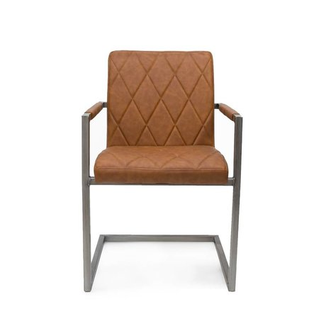 LEF collections Dining Chair Oslo cognac brown PU leather 53x55x85cm