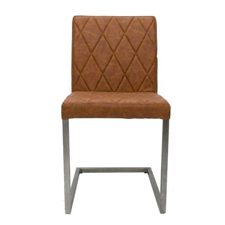 LEF collections Dining chair Stockholm cognac brown PU leather 45x45x90cm