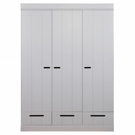 LEF collections Wardrobe 3 doors Connect strips door with drawers concrete gray pine 195X140X53cm