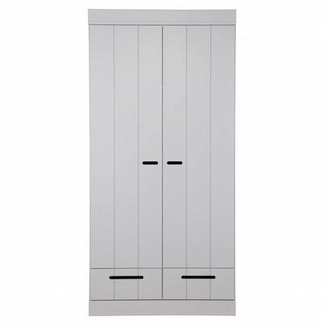 LEF collections Armoire 2 portes Connect bandes porte avec tiroirs béton gris pin 195X94X53cm