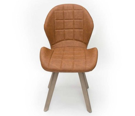 LEF collections Dining Chair Fly Vintage cognac brown PU leather 59x60x87,5cm