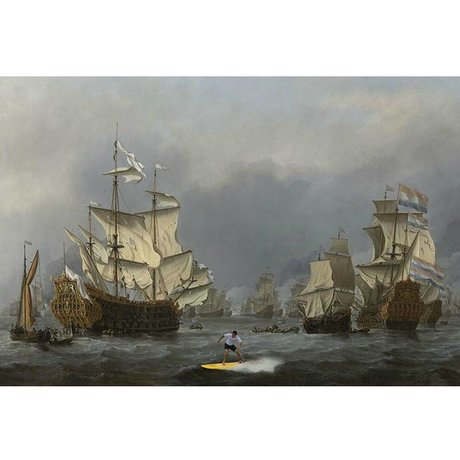 Arty Shock Painting Willem van de Velde Battle XL multicolor plexiglass 150x225cm