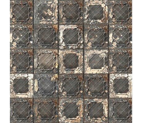 NLXL-Merci Tile wallpaper Brooklyn Tins black / white / rust Tin-07