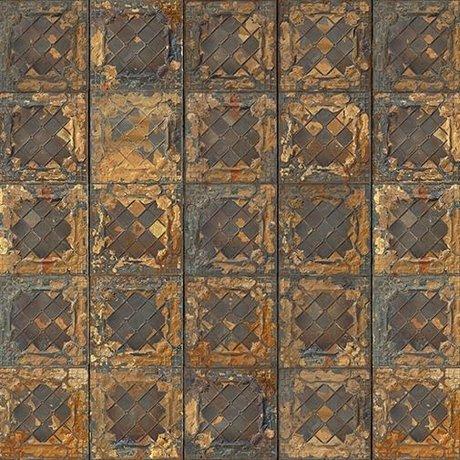 NLXL-Merci Tile wallpaper Brooklyn metallic gold Tins Tin-08