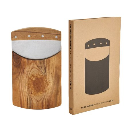 Nicolas Vahe Snijplank set bruin naturel accacia hout 26,9x16cm